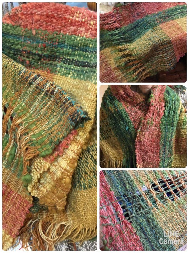 Piecera de una plaza con lana teñida de Tilonka Lanas. Clp 60.000
