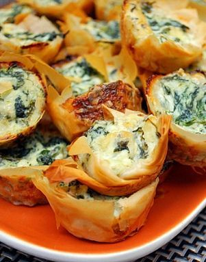 Spanakopita Bites - Pinner says, The most amazing appetizer I have ever tasted. Spinach dip bites