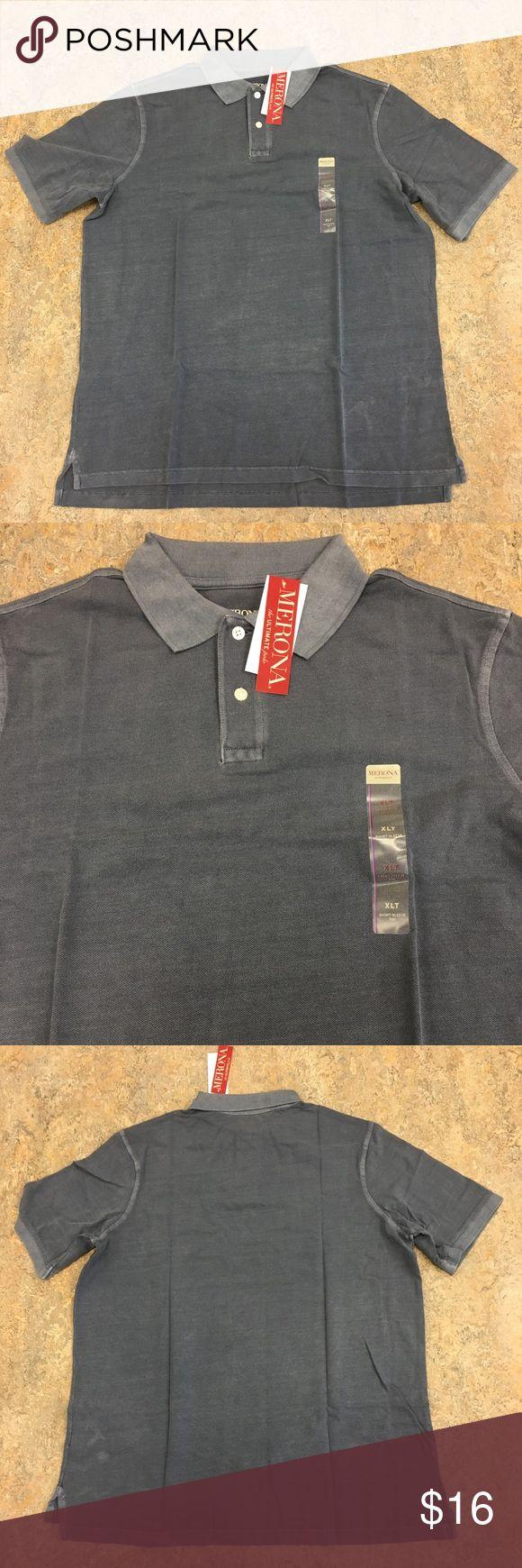 Merona Ultimate Blue Button Up XLT Polo Shirt Merona Blue Pique Button Up Ultimate Polo Shirt. Size XLT. Merona Shirts Polos