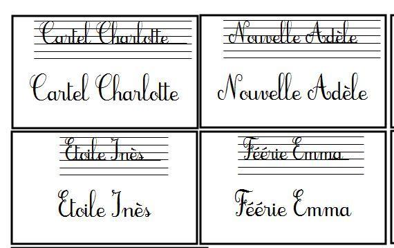 Etiquettes nominatives pour table organisation classe rangement cahiers pinterest blog - Etiquette prenom a imprimer ...