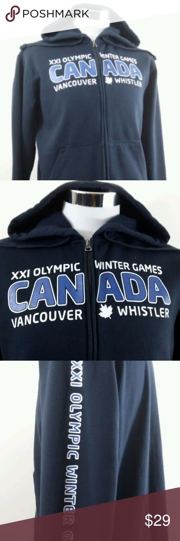 Men's 2010 Canada Winter Olympic Games Hoodie Up for sale very good authentic 2010 Vancouver Olympics navy blue hoodie.   This is an Original, Authentic, and Very Dark Navy Blue size small/P hoodie style sweatshirt. This Shirt is uni-sex made to fit both men and women. No major flaws noticed. Seems to run large. Each pocket has a zipper for security of contents.   MEASUREMENTS:  Height: 25.5 in  Arm Length: 24.5 in Chest: 18.0 in Elevate Sweaters Zip Up