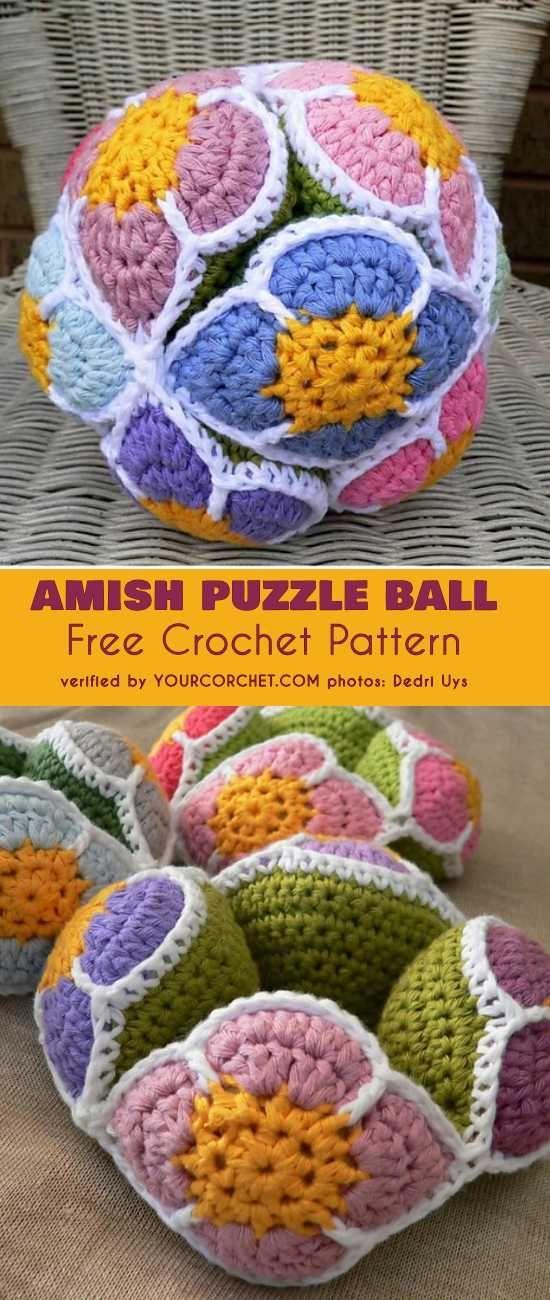 Flower Amish Puzzle Ball Free Crochet Pattern Häkeln Und Stricken
