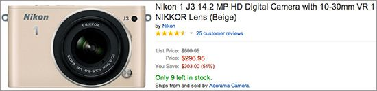 Deal of the day: Nikon 1 J3 camera with 10-30mm lens for half price