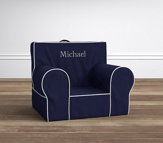 Navy with White Piping Anywhere Chair | Pottery Barn Kids