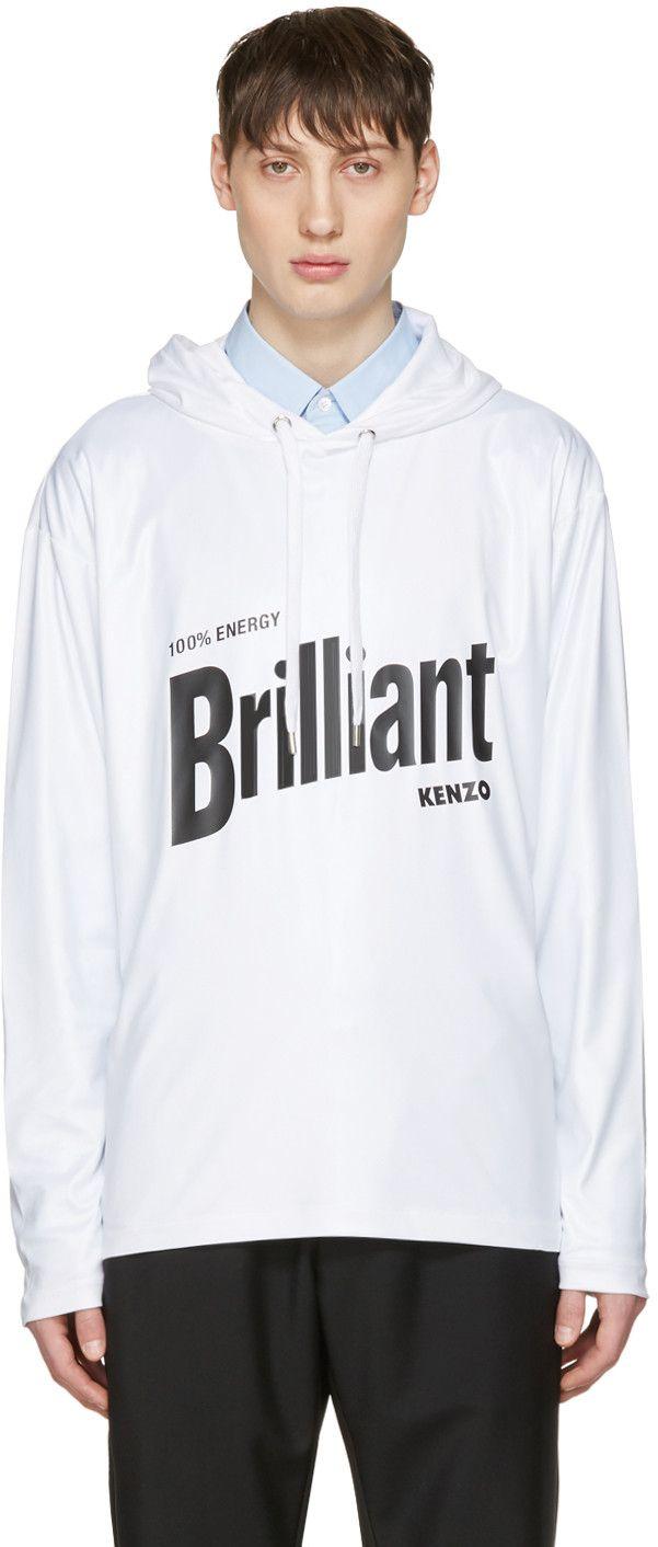 KENZO White 'Brilliant' Hoodie. #kenzo #cloth #hoodie