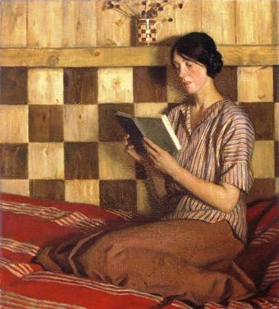 O livro verde, s/d Harold Knight (Grã Bretanha, 1874-1961) óleo sobre tela, 51 x 46 cm Museu Nacional do País de Gales, Cardiff