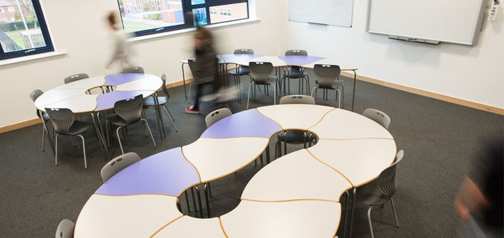 Modern Science Classroom ~ Poynton high school cheshire flexible classroom tables by