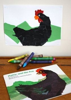 Love the chicken! torn paper craft for Hattie and the Fox