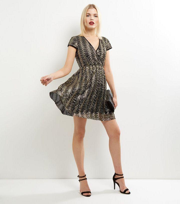 Mela Gold Sequin Wrap Front Dress | New Look