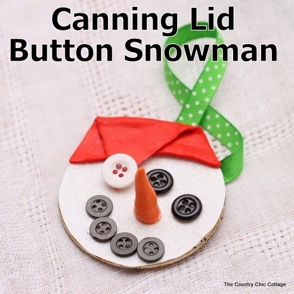 Canning Lid Snowman Ornament ~ * THE COUNTRY CHIC COTTAGE (DIY, Home Decor, Crafts, Farmhouse)