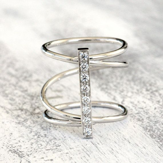 Anello a spirale, oro 18 k e diamanti, anello oro bianco,  anello oro rosa, anello oro giallo, anello donna, regalo per fidanzata, r