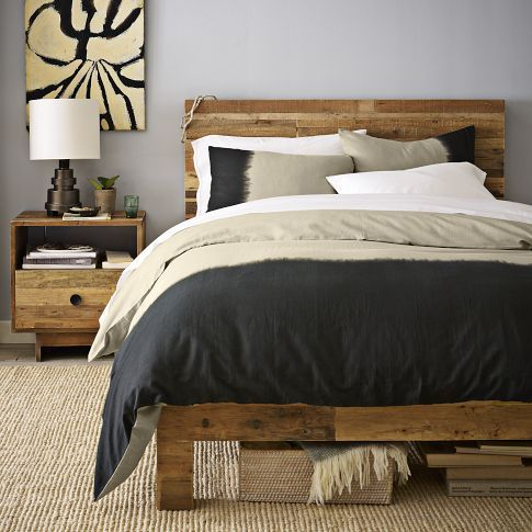 Love love love. Eco-friendly bed and nightstand from West Elm.