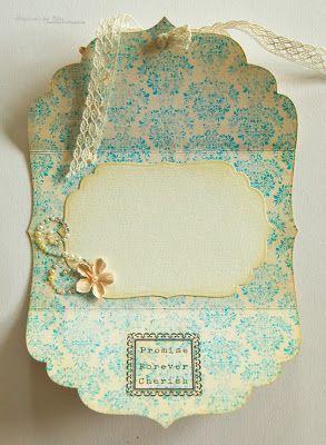A Damask Shabby / Vintage wedding card made by Nina Macaulay.