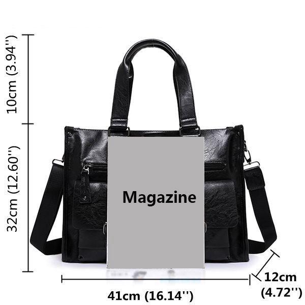 Genuine Leather Business Briefcase Vintage Big Capacity Crossbody Bag Handbag For Men Shopping Online - NewChic