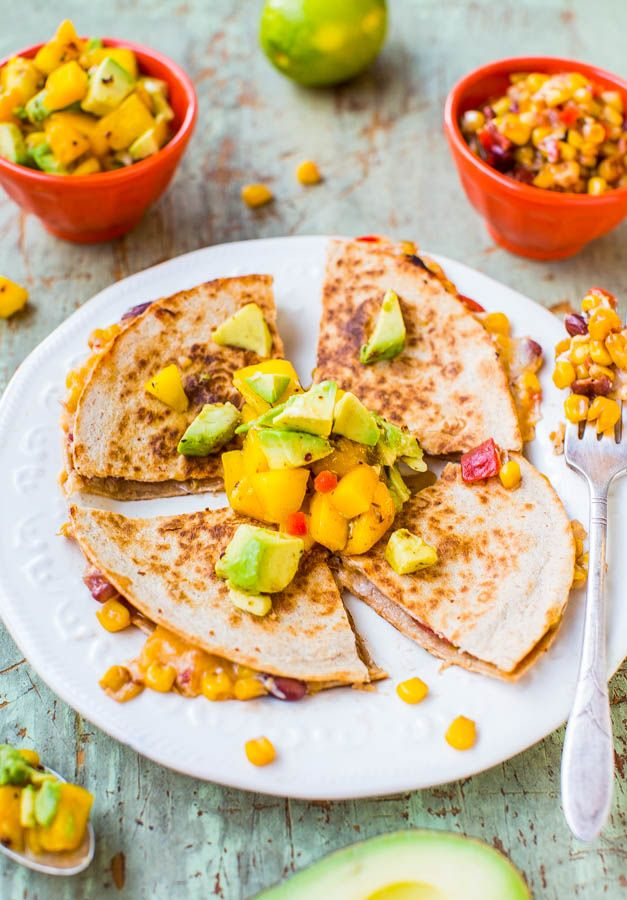 Lightened Up Corn and Bean Quesadillas with Avocado-Mango-Chipotle Salsa (vegetarian/vegan option) - You don't have to derail your diet to enjoy hearty & satisfying comfort food! This version is only about 300 calories & ready in 15 minutes!