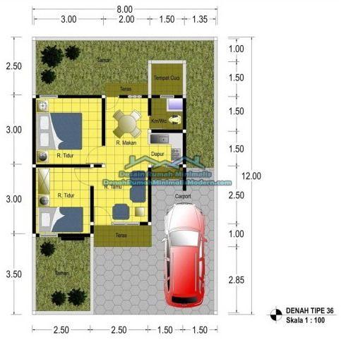 denah rumah minimalis 1 lantai tipe 36 sederhana 2 kamar tidur