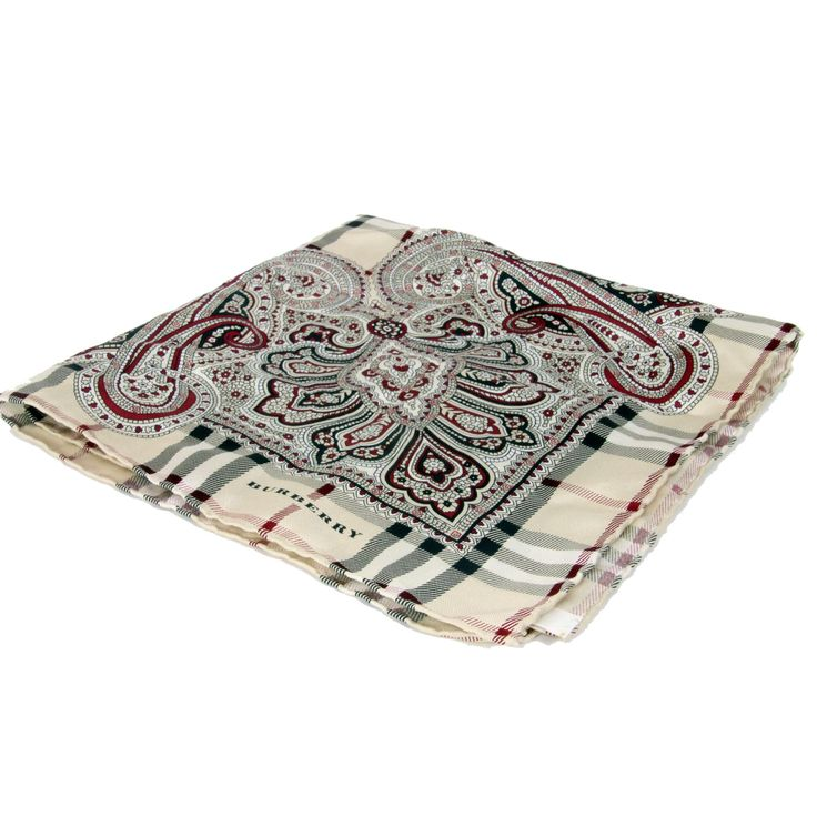 Burberry Limited Edition Paisley Nova Plaid Check Pure Silk Scarve