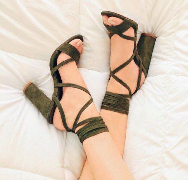 Forest green strappies with a chunky heels are a staple in any sensible wardrobe. Watch out for cankles though