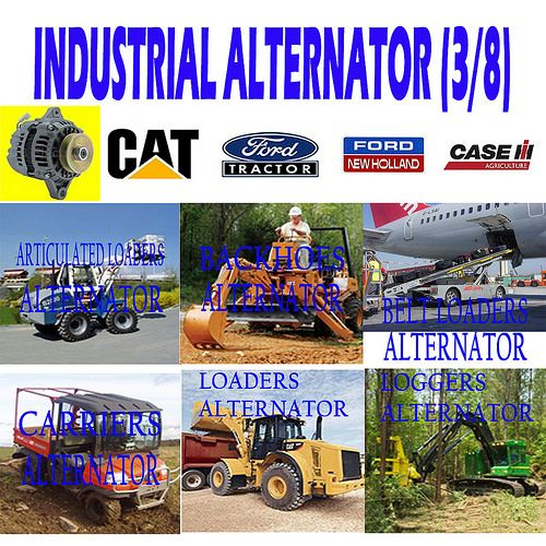 INDUSTRIAL ALTERNATOR (3/8) ARTICULATED LOADER, BACKHOES, BELT LOADERS, CARRIERS, LOADERS, LOGGERS ALTERNATOR