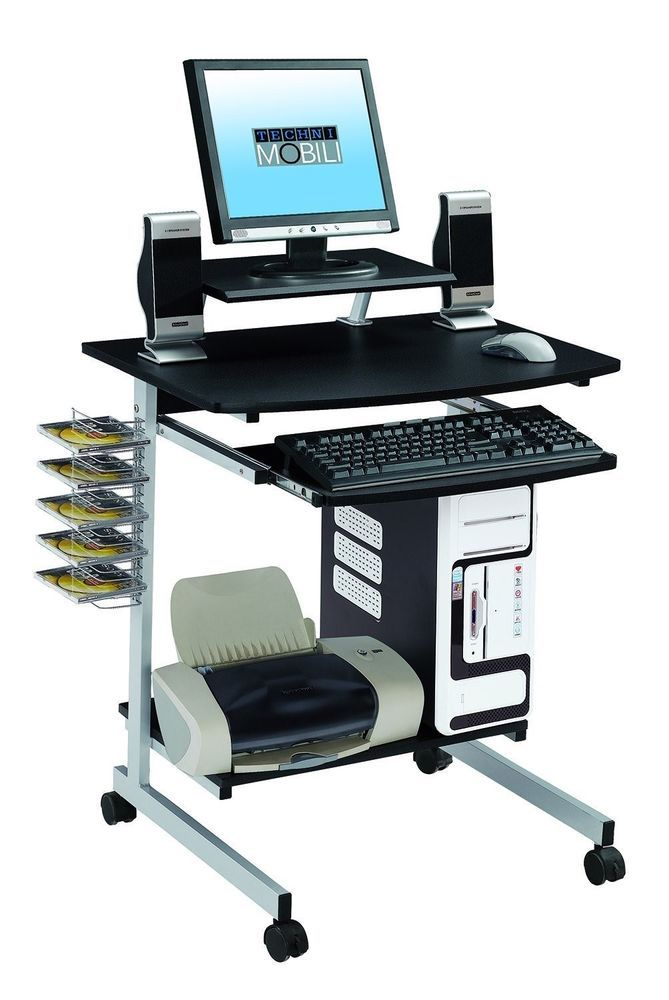 Heavy Duty Rolling Mobile Computer Desk Keyboard Laptop Workstation Computer Cart Desk With Keyboard Tray Mobile Computer Desk