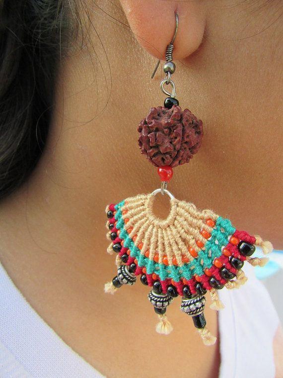 Rudraksha half disk multi-coloured macrame earrings by Narmadaa