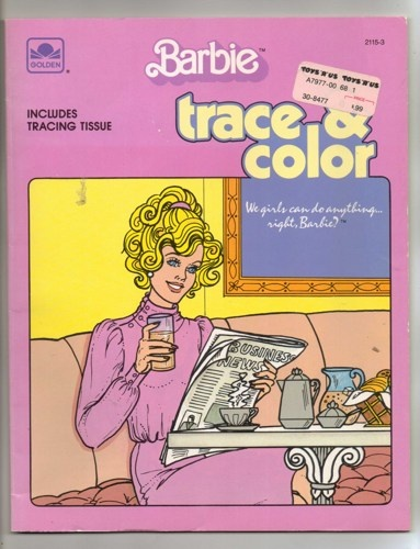 Vintage Golden Book Barbie Trace And Color Coloring 1985