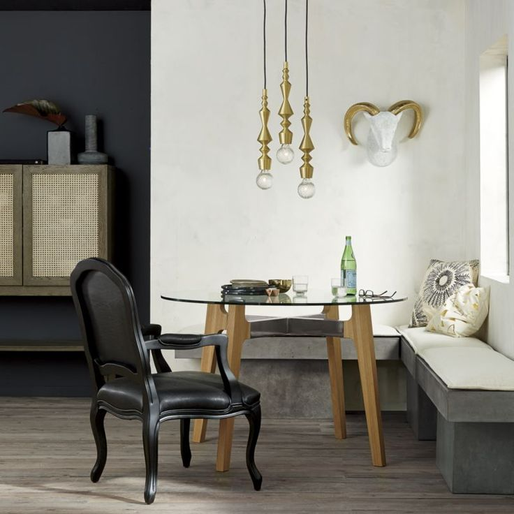 fuze grey bench in dining chairs, bar stools   CB2