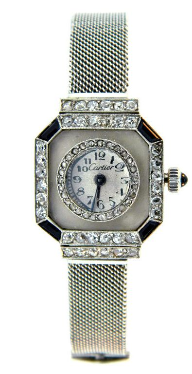 CARTIER, Art Deco Platinum, Diamond, Onyx and Rock Crystal Watch