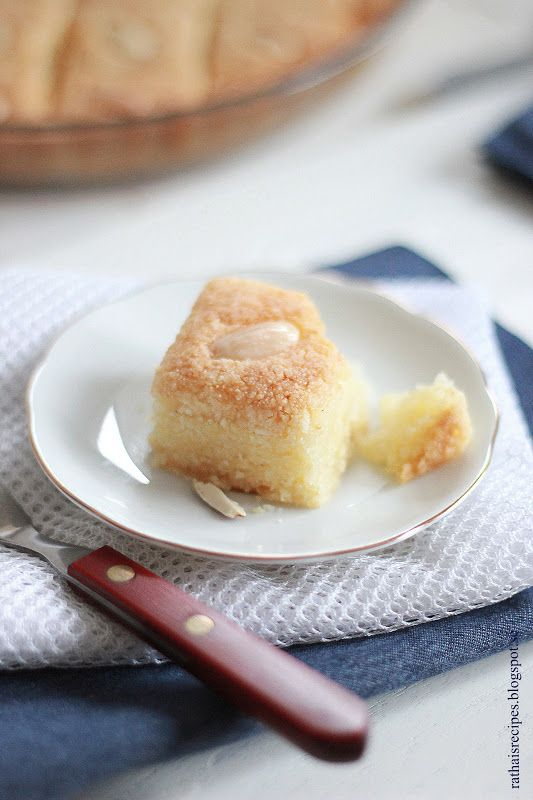 sweet semolina cake with lemon rose water basboosa global table sweet ...