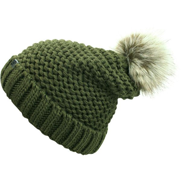 603e2d3a9e6f26 Olive Green Winter Knit Beanie Hat With Faux Fur Pom Pom ($17) ❤ liked