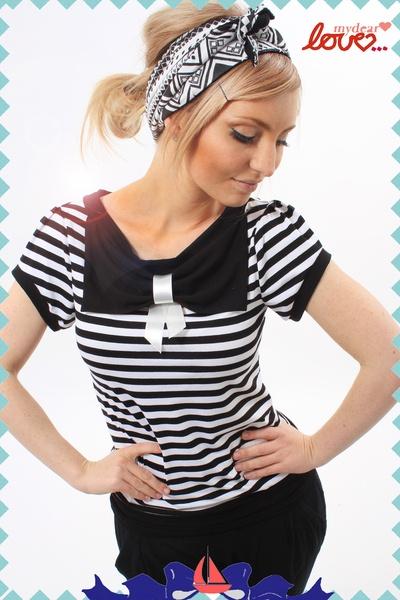 """Schleifenshirt """"Carlotta"""", Streifen Schwarz- Weiß, black and white striped, stripes bow tie collar shirt from mydearlove"""
