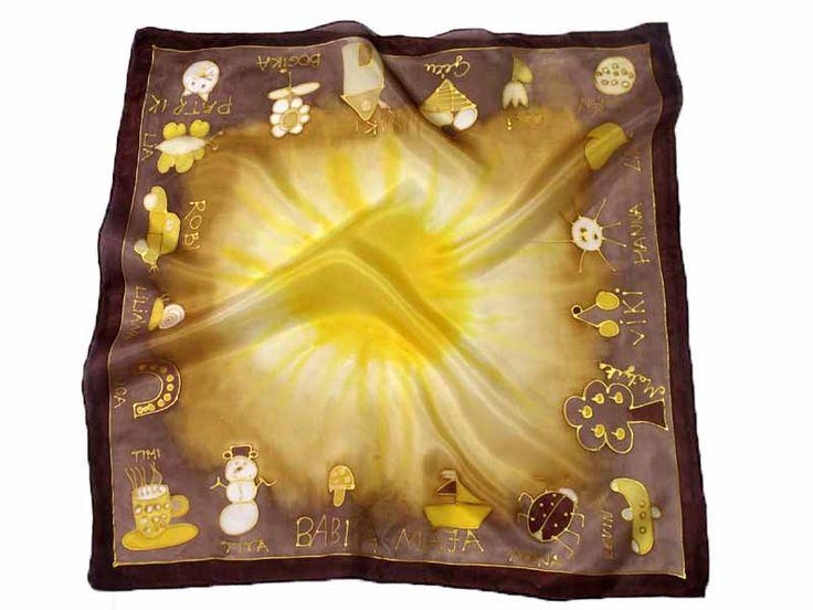 Ovis gyerkőcök jeleivel díszített egyedi selyemkendő. Ideális ajándék óvónéniknek ballagásra.