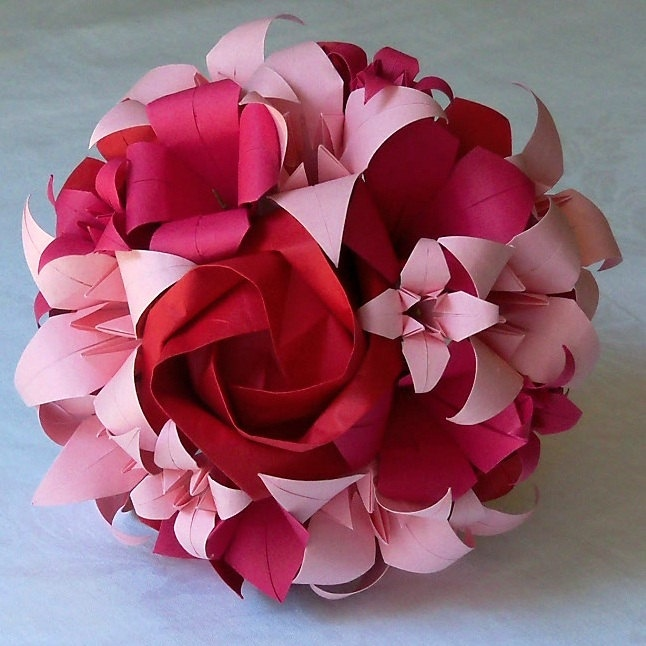 Stunning OOAK Origami Paper Bridesmaid Bouquet featuring Roses, Lilies and Blossoms in Red, Fuschia and Baby Pink