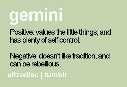 Not sure there's anything negative about a little rebellion and breaking with tradition ... but then, I AM a Gemini. ;)