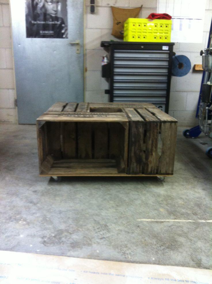 Diy salontafel van oude veiling kratjes / kistjes