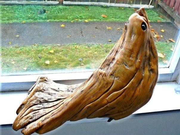driftwood bird found on Mohaka beach