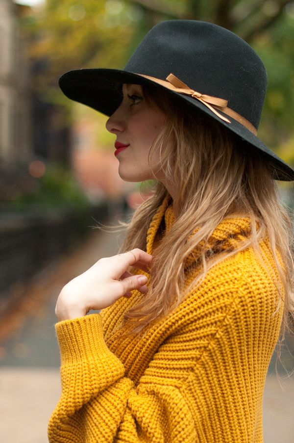 Chunky knits in a quintessential fall color.