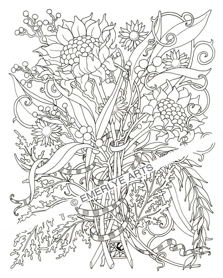 Floral coloring books for adults : 193 best Coloring Pages Flora images on Pinterest