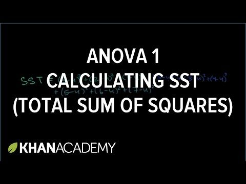 (1) ANOVA 1: Calculating SST (total sum of squares) | Analysis of variance | Inferential statistics | Probability and statistics | Khan Academy