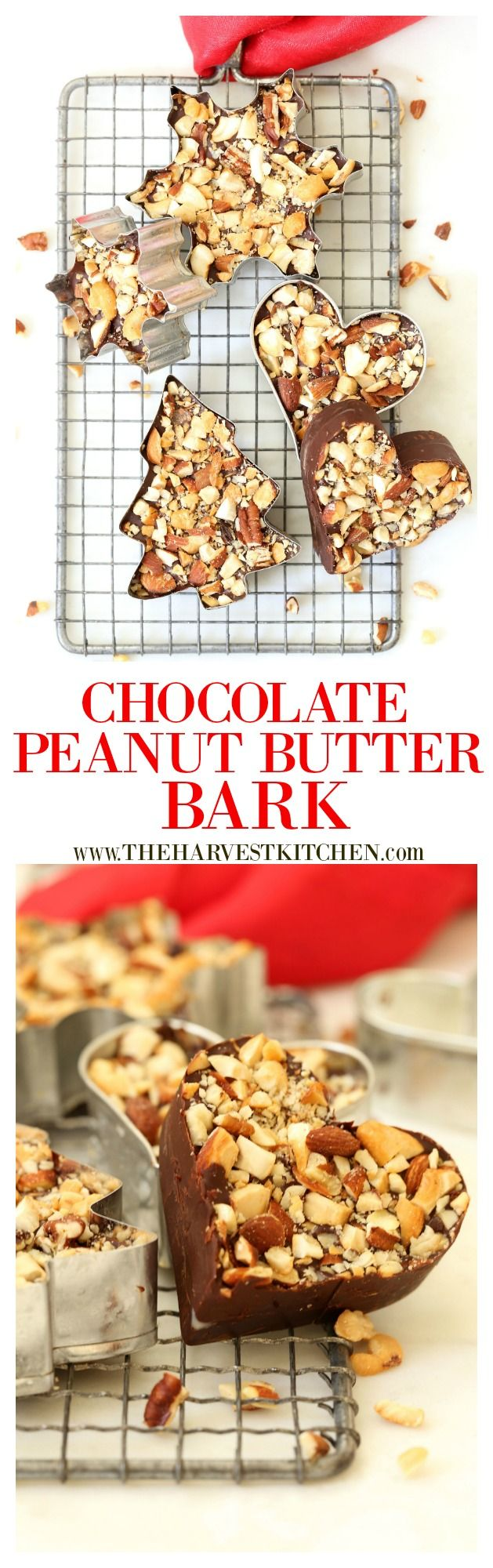 This Healthy Dark Chocolate Bark is made with dark chocolate, peanut butter, chopped pretzels and chopped roasted nuts. This recipe is quick, easy, and super fun to make. It's also highly addictive!