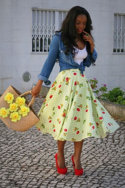 "Lime Green Handmade Skirts, Blue Stradivarius Shirts, Ruby Red Primark Heels | ""Picnic style"" by Afrovaidosas - via chictopia"
