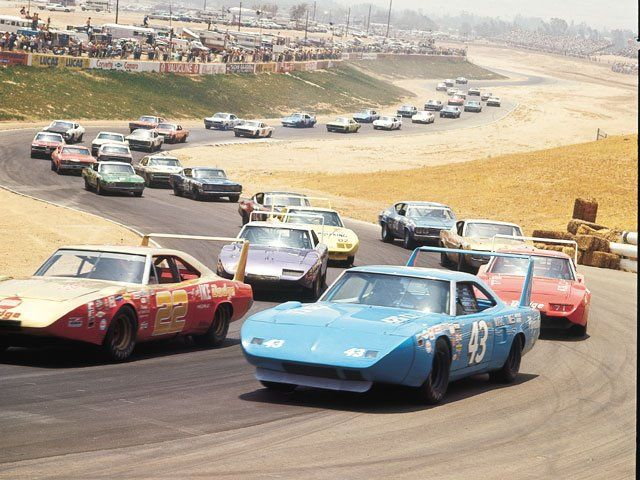 NASCAR back in the day. Plymouth Roadrunners out front.