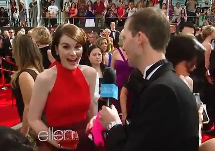Andy Zenor from The Ellen DeGeneres Show was on the Emmy red carpet last night chatting with all the celebs. Luck Guy!  He presented Downton Abbey's Michelle Dockery with a pair of Ellen underwear (at the 1:25 mark) and her reaction is priceless! see video!