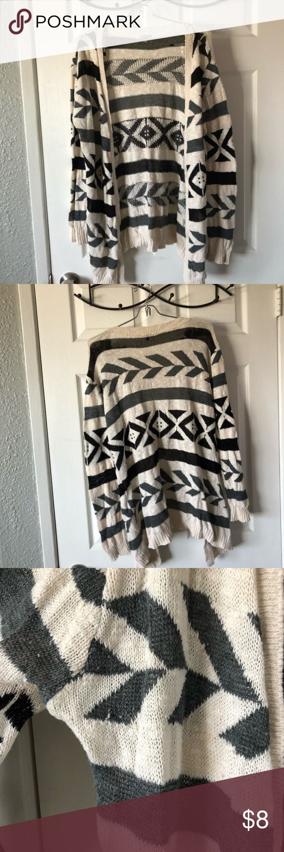 Tribal print cardigan Tribal print cardigan Has little fuzzies Super cute and long Sweaters Cardigans