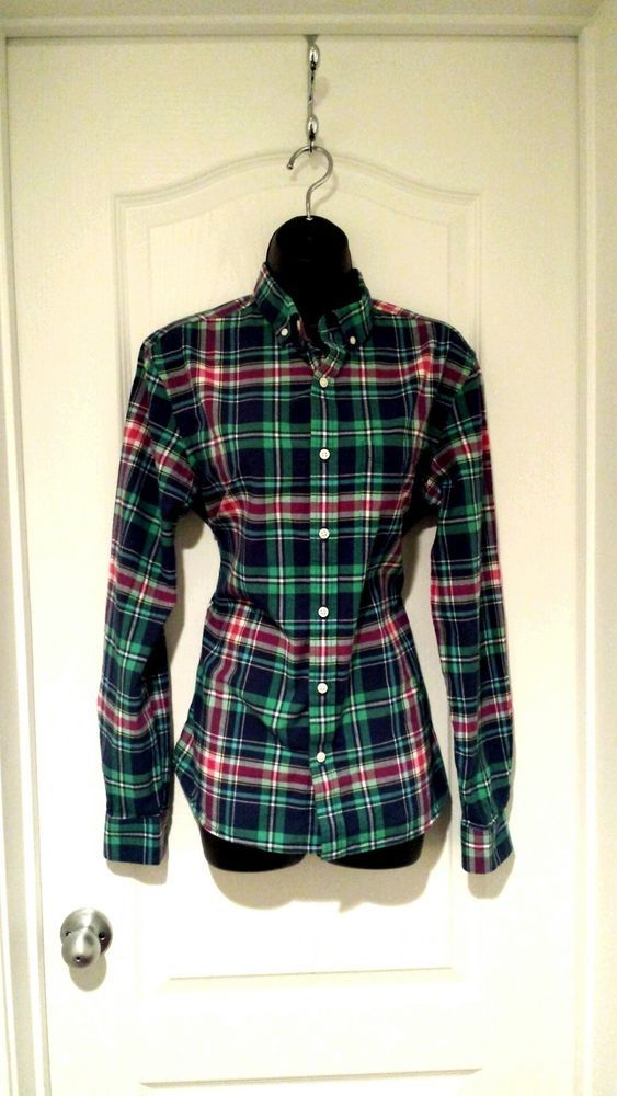 67895cc7a Old Navy womens classic button down shirt blue green red plaid long sleeve # fashion #