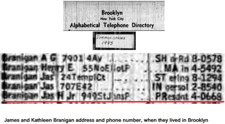 James & Kathleen Branigan 1945, phonebook Bronx, New York.