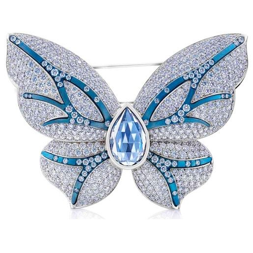 De Beers one of kind Butterfly Brooch total carat wt 10.17 - featuring a blue pear rose cut diamond totaling 2.03
