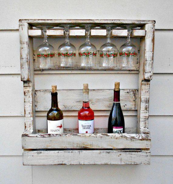 Rustic Wood Wine Rack, Reclaimed Wood, Distressed White Washed Look, Pallet Wine…