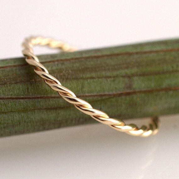 ON SALE Yellow Gold Twist 14k band by kyleannemetals on Etsy, $117.00