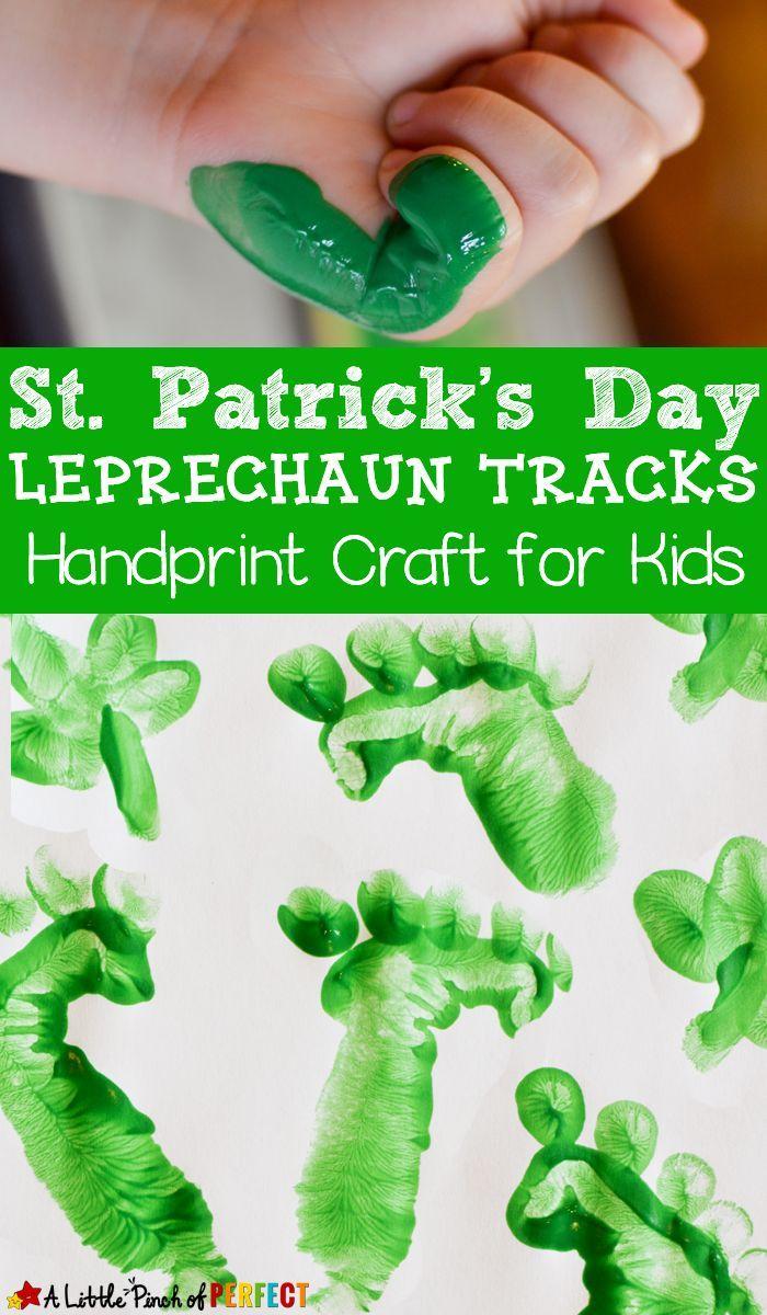 St Patrick S Day Leprechaun Tracks Handprint Craft For Kids St